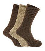Chaussettes Non-Élastiquées En Mélange De Laine (Lot De 3) - Homme (Tons marron) - UTMB286 preview1