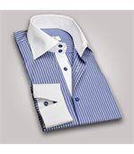 Chemise homme à rayures bleu marine intérieur blanc poignets napolitains - Chemise CINTRÉE preview2