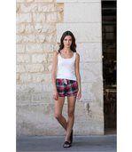 short femme motfs écossais tartan - SK082 - rouge preview3