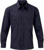 chemise manches longues retroussables - R-918M-0 - bleu marine - homme preview1