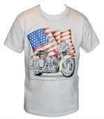 T-shirt homme manches courtes - Biker USA 11634 - blanc preview1