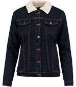 Veste jean doublée sherpa - K6139 - bleu denim - femme preview1