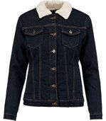 Veste jean doublée sherpa - K6139 - bleu denim - femme preview2