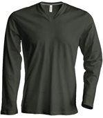 T-shirt manches longues col V - K358 - vert khaki - homme preview1