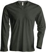 T-shirt manches longues col V - K358 - vert khaki - homme preview2