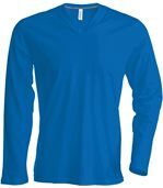 T-shirt manches longues col V - K358 - bleu roi - homme preview2
