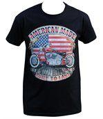 T-shirt homme manches courtes - Moto biker drapeau USA - 18544 - noir preview1