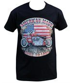 T-shirt homme manches courtes - Moto biker drapeau USA - 18544 - noir preview2