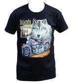 T-shirt homme manches courtes - Moto biker et loup - 1500 - noir preview1