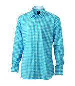 chemise manches longues carreaux vichy HOMME JN617 - bleu turquoise preview1