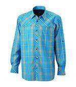 chemise trekking manches longues à carreaux - JN580 - HOMME - bleu azur preview2