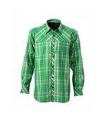 chemise trekking manches longues à carreaux - JN580 - HOMME - vert preview2