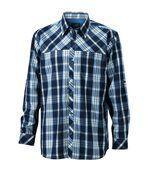 chemise trekking manches longues à carreaux - JN580 - HOMME - bleu marine preview1