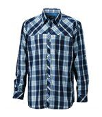 chemise trekking manches longues à carreaux - JN580 - HOMME - bleu marine preview2