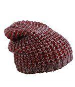 Bonnet tricoté - MB7973 - rouge bordeeu - prune - chiné preview1