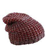 Bonnet tricoté - MB7973 - rouge bordeeu - prune - chiné preview2