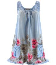 Robe  coton - ROSANNA - fleurs bleu ciel