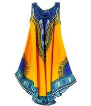 Robe  asymétrique bohème - INCAS -jaune