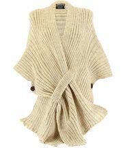 Gilet poncho laine alpaga grosse maille ATOS beige