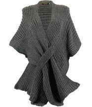 Gilet poncho laine alpaga grosse maille ATOS gris