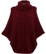 Poncho laine grosse maille bordeaux ELODY