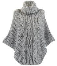 Poncho laine grosse maille gris perle ELODY