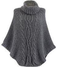 Poncho laine grosse maille gris foncé ELODY