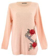 Pull laine long  doux brodé AMOUR rose