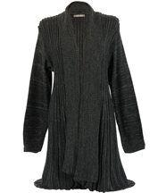 Gilet long tricot plissé MIRAMAR  gris