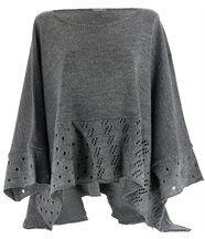 Pull poncho laine mohair ALEXANDRA gris