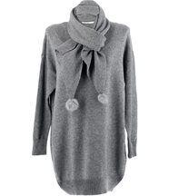 pull long + écharpe pompons CYPRIEN gris