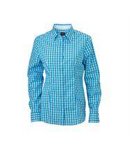chemisier chemise manches longues FEMME carreaux vichy JN616 - bleu turquoise