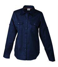 chemisier manches longues uni - 2 poches poitrine - JN605 - FEMME - bleu marine