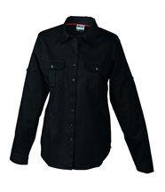 chemisier manches longues uni - 2 poches poitrine - JN605 - FEMME - noir