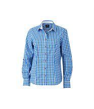 chemisier manches longues à carreaux - JN637 - FEMME - bleu et blanc