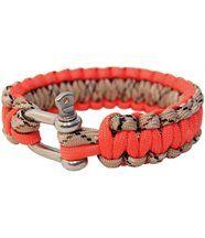 Bracelet en paracorde orange avec manille métal Bushcraft BCB
