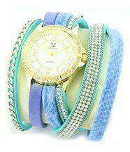 Montre Femme Cuir en Bleu Diamants Cz HIPPIE 940
