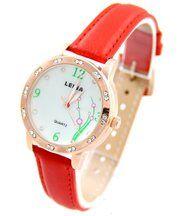 Montre pour Femme Bracelet Cuir Rouge LEINA 595