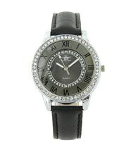Montre Femme Cuir Gris Diamants Cz HIPPIE 2359