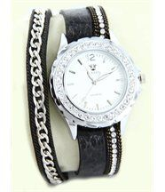 Montre pour Femme en Cuir Noir Diamants Cz HIPPIE 2304