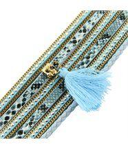 Bracelet Tendance Femme Cuir Bleu Incrusté DAPHNEE 1140