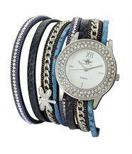 Très Belle Montre Femme Cuir Bleu Double-Bracelet M. JOHN 1080