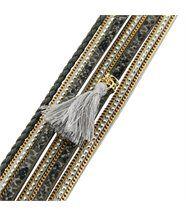 Joli Bracelet Femme Cuir Gris Incrusté DAPHNEE 1130