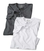 2er-Pack T-Shirts mit Schnürung