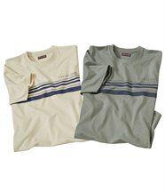 2er-Pack gestreifte T-Shirts