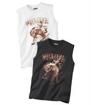 Set van 2 mouwloze shirts 'Western Rodeo'