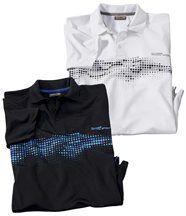 2er-Pack Poloshirts mit trendigem Aufdruck