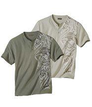 2er-Pack T-Shirts Maori Spirit mit Henleykragen