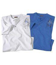 2er-Pack T-Shirts mit Henleykragen
