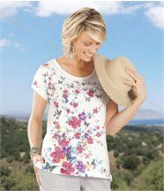 T-Shirt Blumen und Schmetterlinge